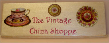 Sign for a room box The Vintage China Shoppe