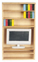 T4281 Bookcase with Books & TV