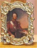 19th Century British Army Officer Portrait by William Moore Jnr. in Gold Postage Stamp Frame