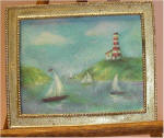 Watercolor Sailboats of Lighthouse Point in Large Plain Gold Frame