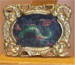 Green Dragon  in Gold Postage Stamp Frame