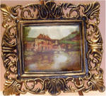 Old Mill on Silk in Gold & Black Frame