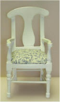 White Arm Chair with Blue on off white seats