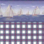 IB 0259PA Lighthouses & Sailboats - Red Plaid