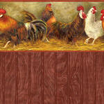IB 0847b Roosters - Red Beadboard Wood Panel