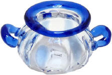 HB314 two handled bowl with blue trim