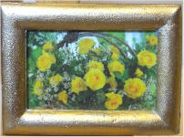 S44 Basket of Yellow Roses in Gold Frame