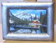 S34 Cabin on the Lake in the Mountains in Silver Frame