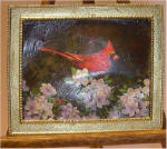 Cardinal on Dogwood in Large Plain Gold Frame