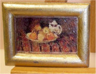 A15 Unknown Painting Fruit Bowl (2) in Plain Rectangular Gold Frame