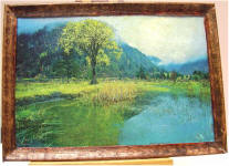 Tree by the Pond in Custom Wood Frame