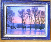 Trees by the Frozen Pond in Navy & Silver Frame