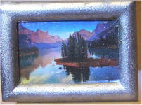 Trees on Lake Island in Silver Frame