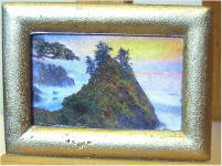 Trees on the Rock at Sunset in Gold Frame