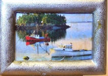 Tugboats in the Sound in Silver Frame