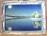 S49 Moon Over the Lake in Silver Frame