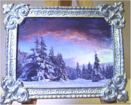 Winter Forest at Dusk in Silver Frame